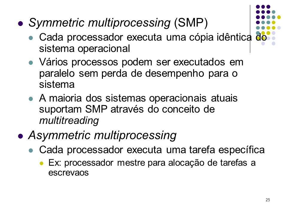 25 Symmetric multiprocessing (SMP) Cada processador executa uma cópia idêntica do sistema operacional Vários processos podem ser executados em paralel