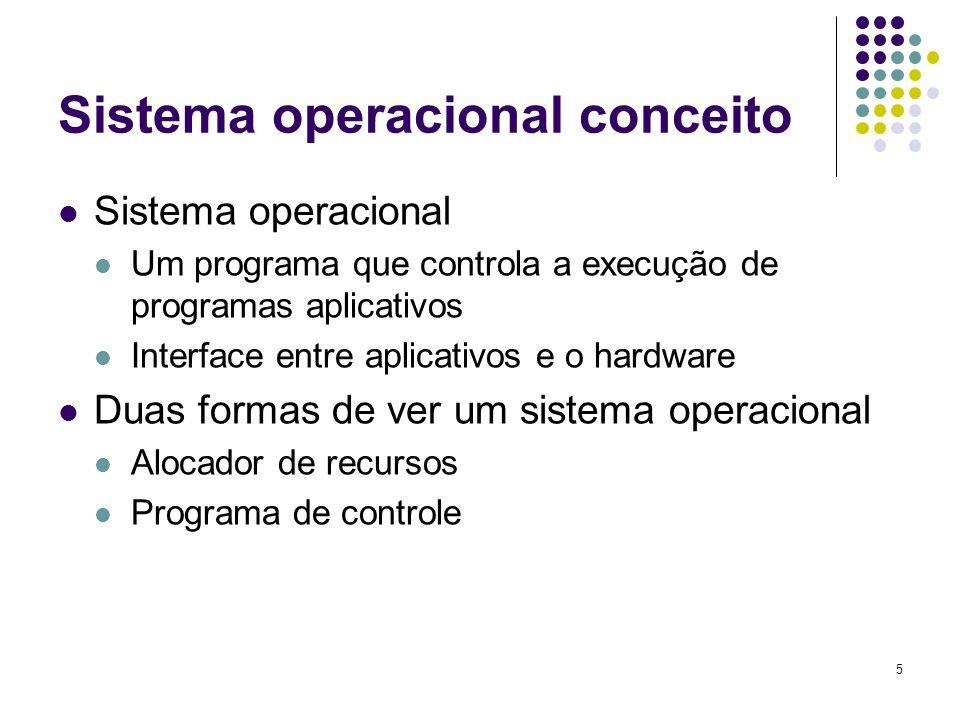 5 Sistema operacional conceito Sistema operacional Um programa que controla a execução de programas aplicativos Interface entre aplicativos e o hardwa