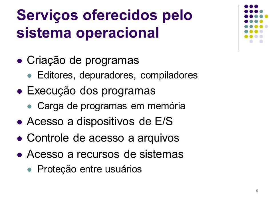 8 Serviços oferecidos pelo sistema operacional Criação de programas Editores, depuradores, compiladores Execução dos programas Carga de programas em m