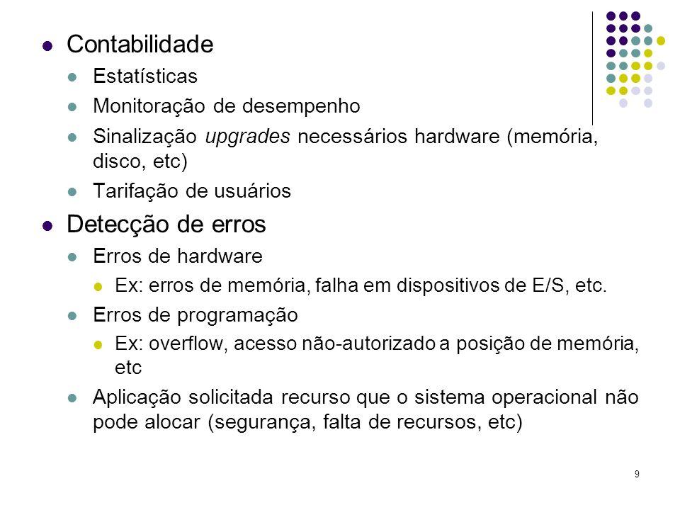 9 Contabilidade Estatísticas Monitoração de desempenho Sinalização upgrades necessários hardware (memória, disco, etc) Tarifação de usuários Detecção