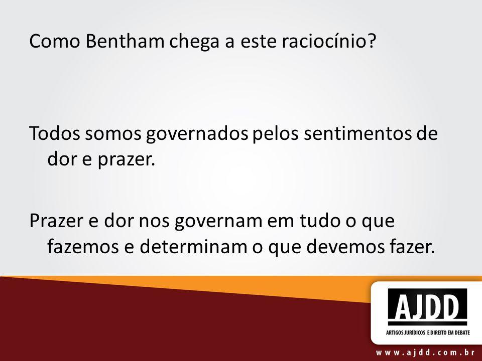 Como Bentham chega a este raciocínio? Todos somos governados pelos sentimentos de dor e prazer. Prazer e dor nos governam em tudo o que fazemos e dete