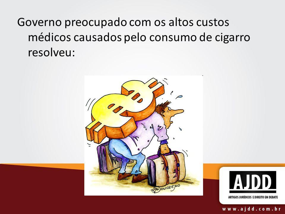 Governo preocupado com os altos custos médicos causados pelo consumo de cigarro resolveu: