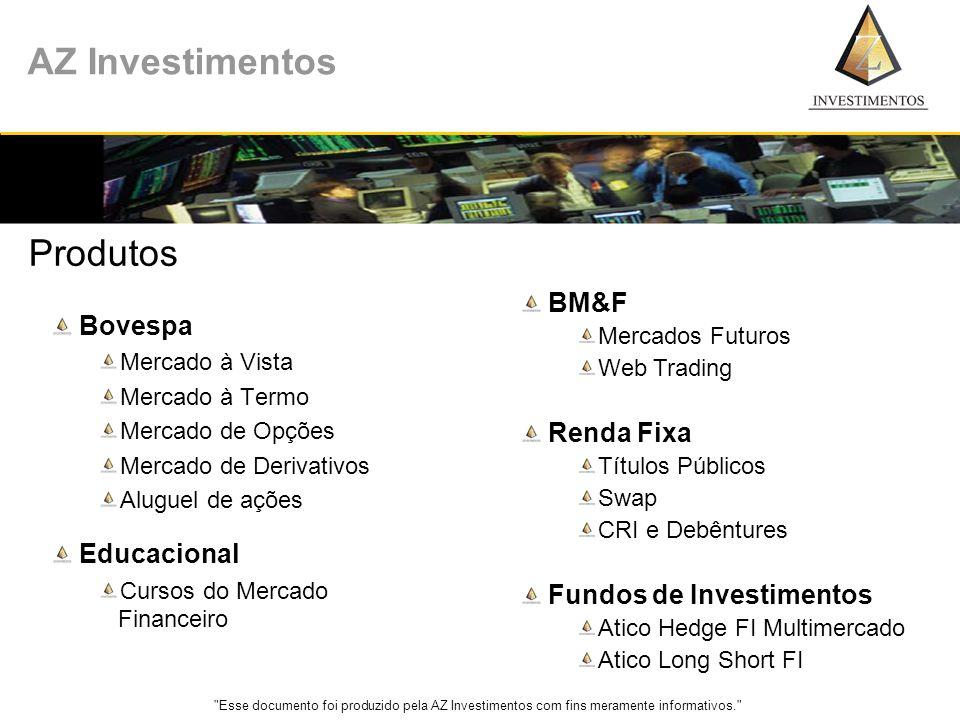 Esse documento foi produzido pela AZ Investimentos com fins meramente informativos. AZ Investimentos CONTATO C.E.