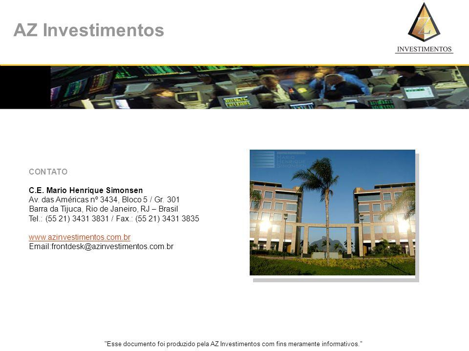 Esse documento foi produzido pela AZ Investimentos com fins meramente informativos. AZ Investimentos