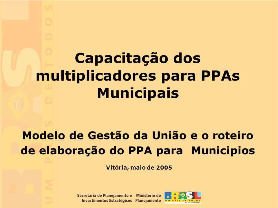 1 Vitória, maio de 2005 Capacitação dos multiplicadores para PPAs Municipais Modelo de Gestão da União e o roteiro de elaboração do PPA para Municipio