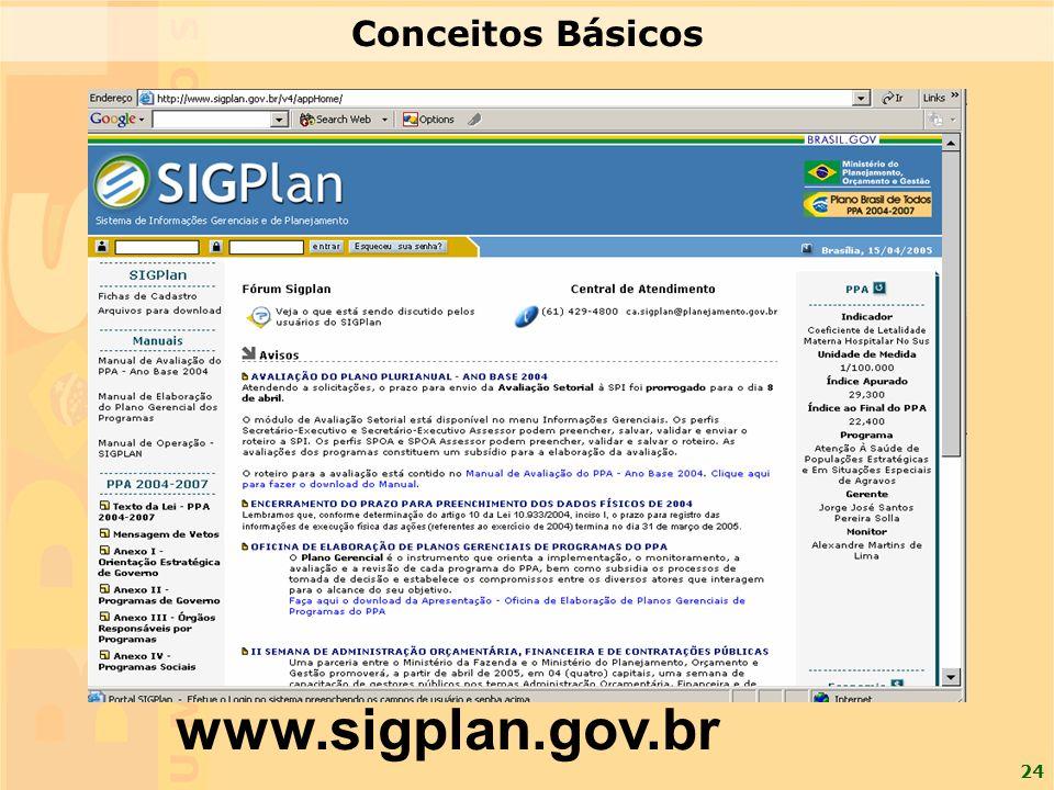 24 www.sigplan.gov.br Conceitos Básicos