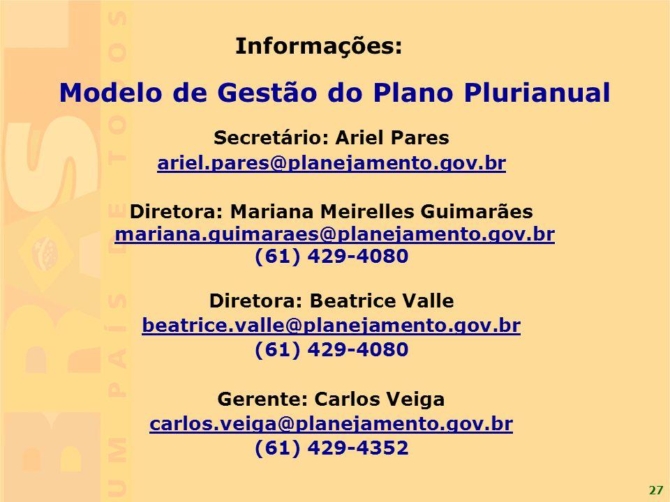 27 Informações: Modelo de Gestão do Plano Plurianual Secretário: Ariel Pares ariel.pares@planejamento.gov.br Diretora: Mariana Meirelles Guimarães mar
