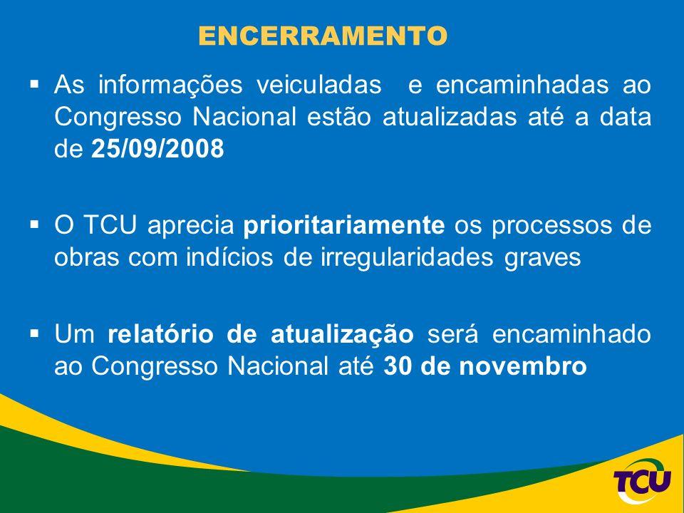 ENCERRAMENTO As informações veiculadas e encaminhadas ao Congresso Nacional estão atualizadas até a data de 25/09/2008 O TCU aprecia prioritariamente