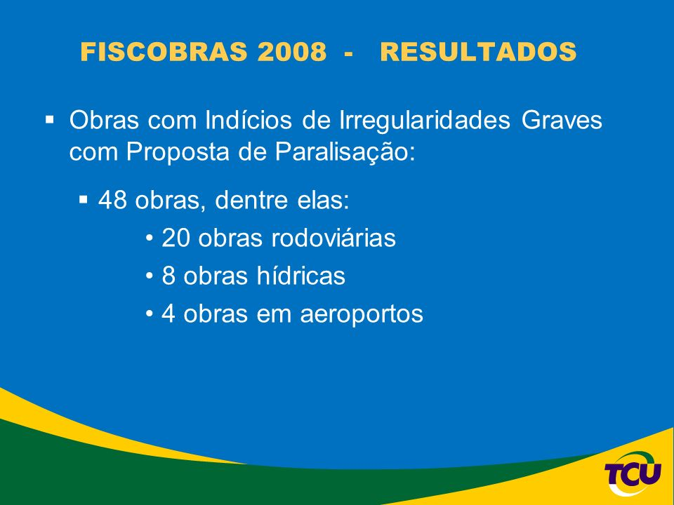 FISCOBRAS 2008 - RESULTADOS Obras com Indícios de Irregularidades Graves com Proposta de Paralisação: 48 obras, dentre elas: 20 obras rodoviárias 8 ob