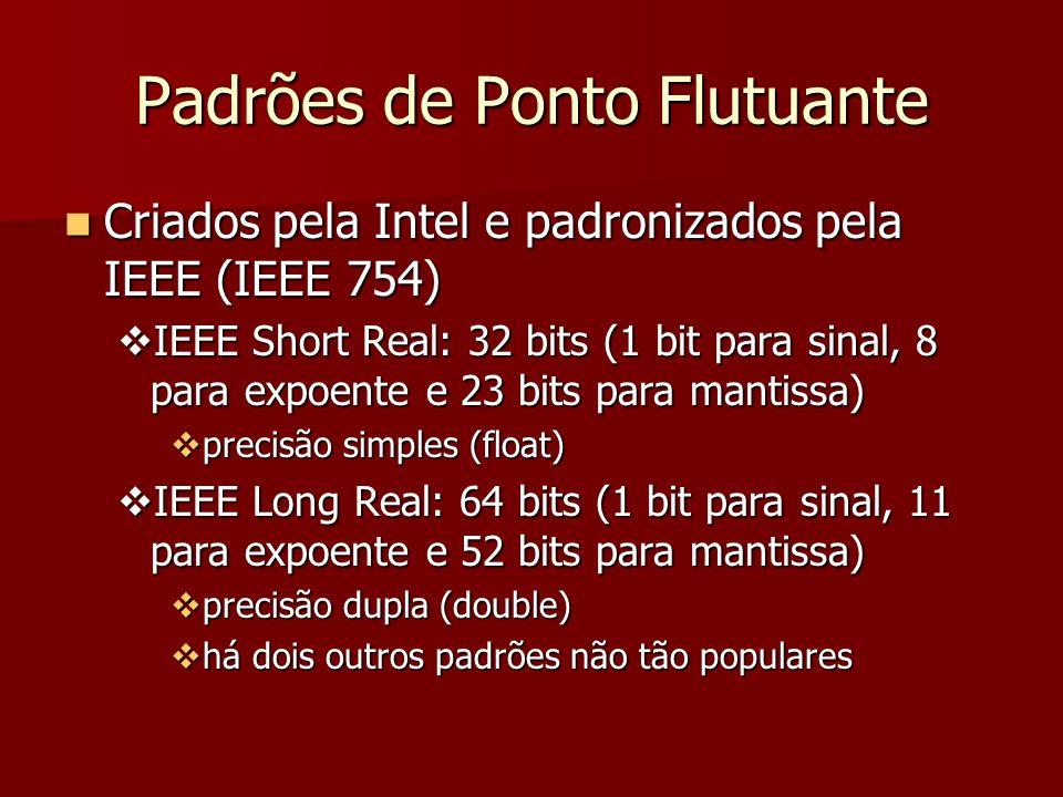 IEEE Short Real 11111111111111111111111111111111 sinalexpoentemantissa 313023220 Parâmetro Precisão simples Precisão dupla tamanho (bits) 3264 faixa de valores 10 -38...10 +38 10 -308...10 +308