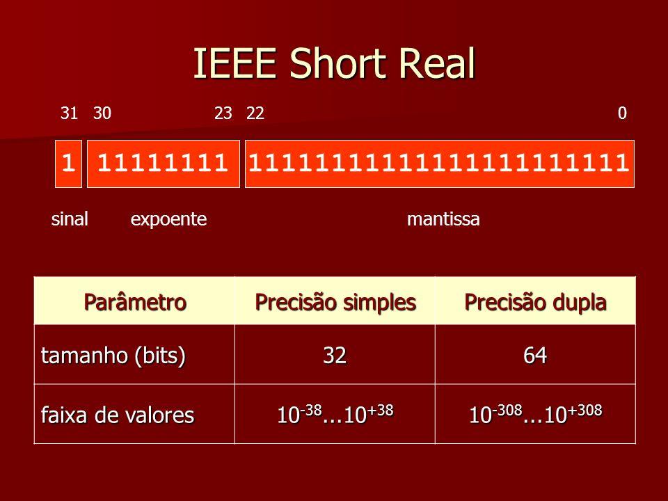 Sinal 1 bit (0: positivo ou 0; 1: negativo) 1 bit (0: positivo ou 0; 1: negativo) Mantissa Exemplo na base 10 Exemplo na base 10 -3.154 x 10 5 -3.154 x 10 5 sinal negativo, mantissa = 3.154, expoente = 5 sinal negativo, mantissa = 3.154, expoente = 5