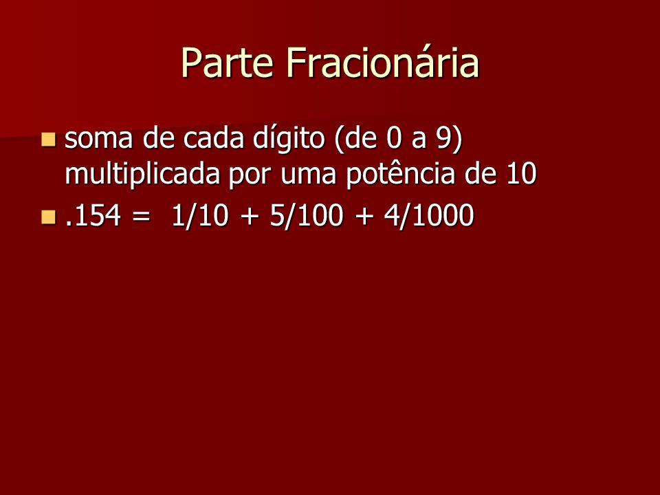 Parte Fracionária soma de cada dígito (de 0 a 9) multiplicada por uma potência de 10 soma de cada dígito (de 0 a 9) multiplicada por uma potência de 1