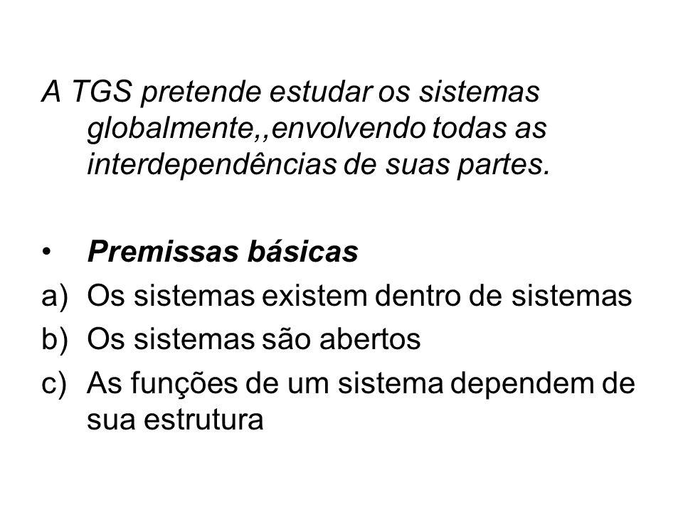 A TGS pretende estudar os sistemas globalmente,,envolvendo todas as interdependências de suas partes. Premissas básicas a)Os sistemas existem dentro d