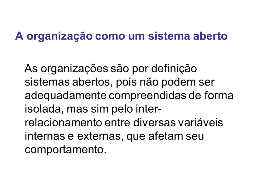 A organização como um sistema aberto As organizações são por definição sistemas abertos, pois não podem ser adequadamente compreendidas de forma isola