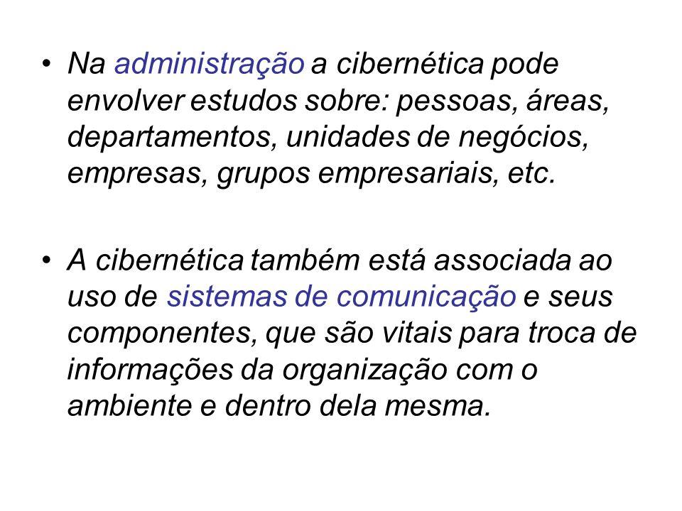 Na administração a cibernética pode envolver estudos sobre: pessoas, áreas, departamentos, unidades de negócios, empresas, grupos empresariais, etc. A