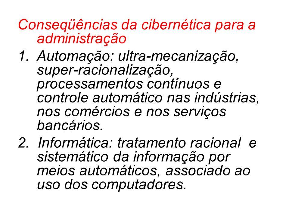 Conseqüências da cibernética para a administração 1.Automação: ultra-mecanização, super-racionalização, processamentos contínuos e controle automático