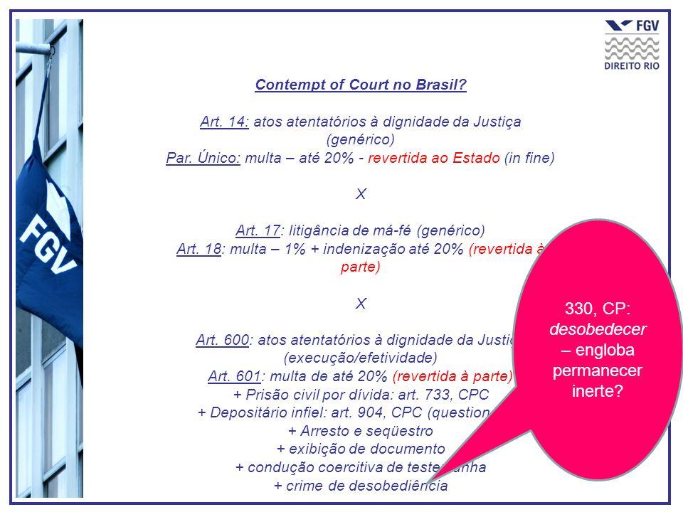 Contempt of Court no Brasil. Art. 14: atos atentatórios à dignidade da Justiça (genérico) Par.
