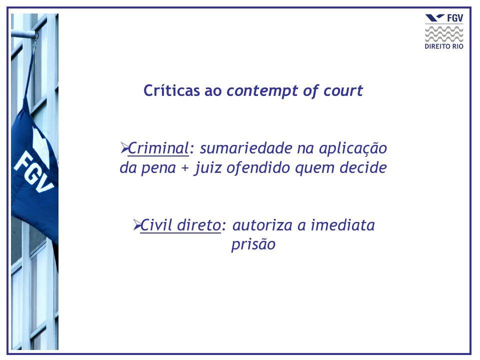 Críticas ao contempt of court Criminal: sumariedade na aplicação da pena + juiz ofendido quem decide Civil direto: autoriza a imediata prisão