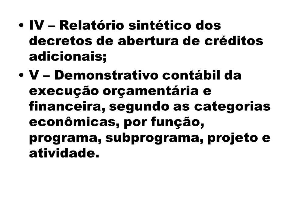 IV – Relatório sintético dos decretos de abertura de créditos adicionais; V – Demonstrativo contábil da execução orçamentária e financeira, segundo as