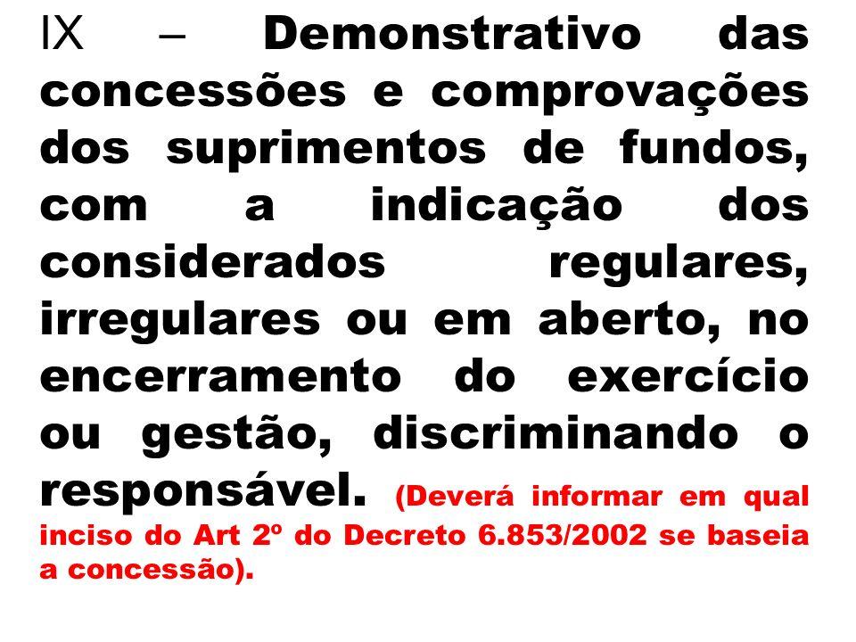 IX – Demonstrativo das concessões e comprovações dos suprimentos de fundos, com a indicação dos considerados regulares, irregulares ou em aberto, no e