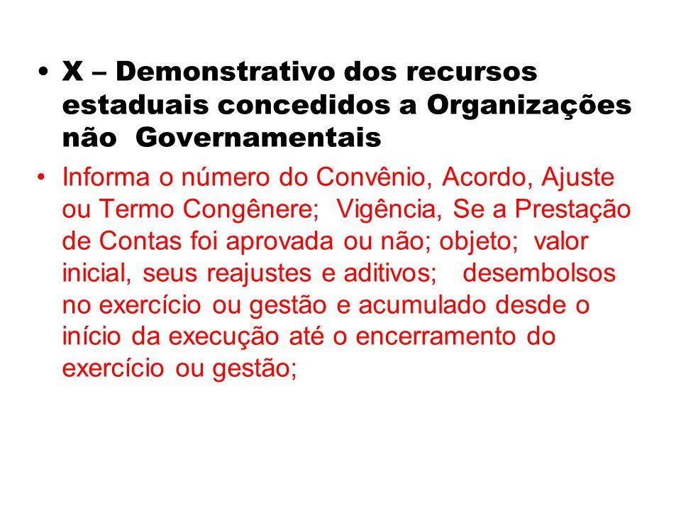 X – Demonstrativo dos recursos estaduais concedidos a Organizações não Governamentais Informa o número do Convênio, Acordo, Ajuste ou Termo Congênere;