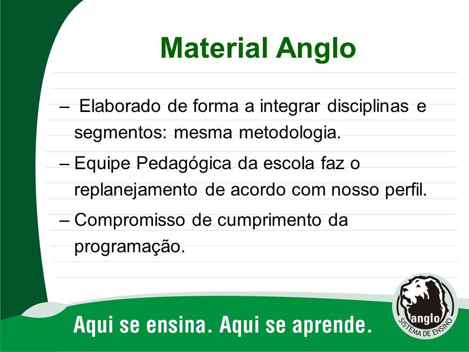 Material Anglo – Elaborado de forma a integrar disciplinas e segmentos: mesma metodologia. –Equipe Pedagógica da escola faz o replanejamento de acordo