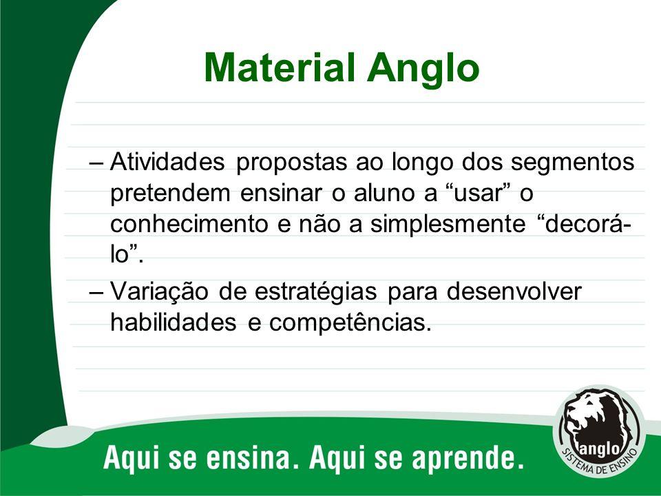 Material Anglo –Atividades propostas ao longo dos segmentos pretendem ensinar o aluno a usar o conhecimento e não a simplesmente decorá- lo. –Variação