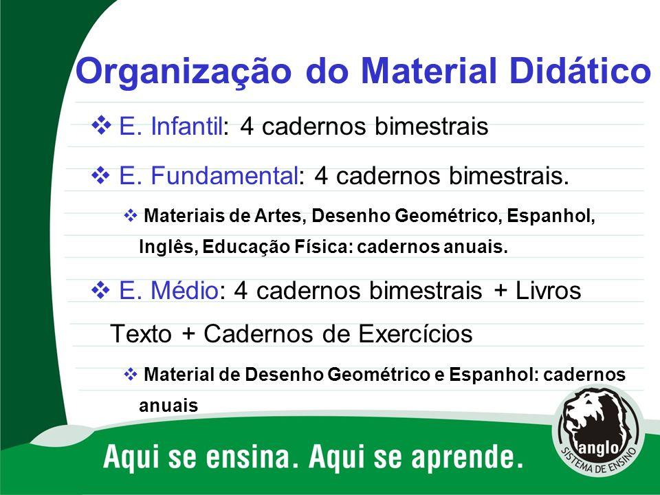 Organização do Material Didático E. Infantil: 4 cadernos bimestrais E. Fundamental: 4 cadernos bimestrais. Materiais de Artes, Desenho Geométrico, Esp
