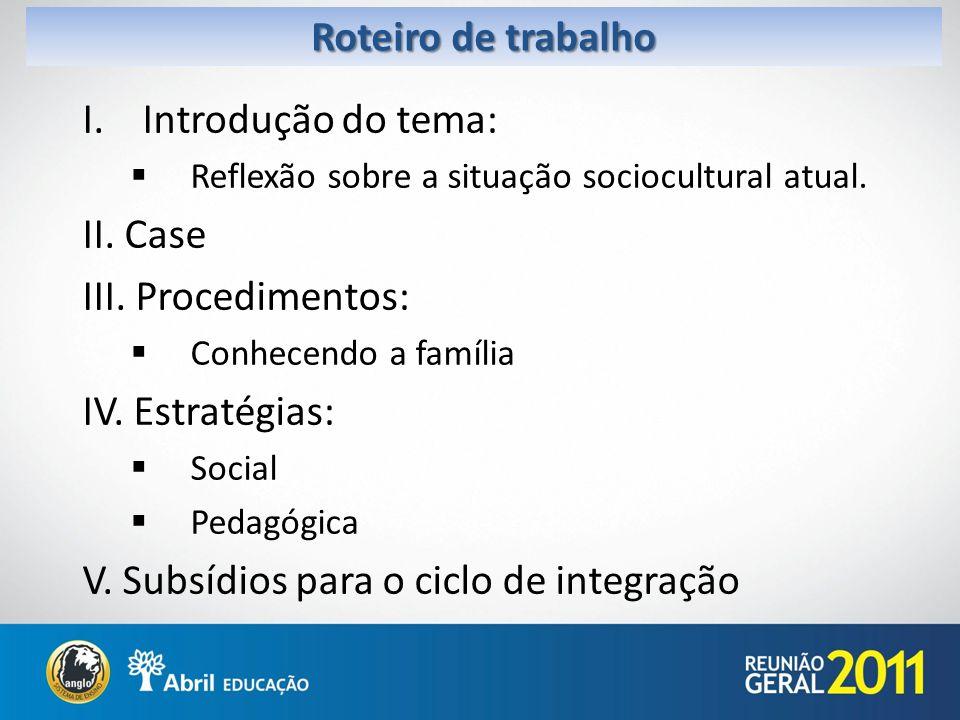Roteiro de trabalho I.Introdução do tema: Reflexão sobre a situação sociocultural atual. II. Case III. Procedimentos: Conhecendo a família IV. Estraté