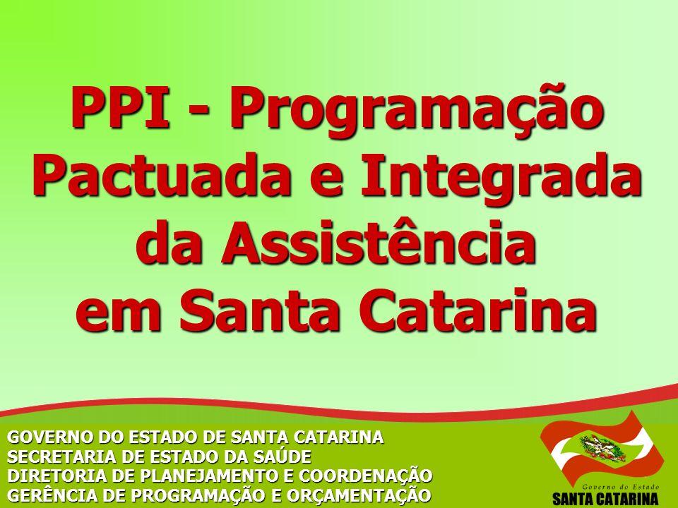 GOVERNO DO ESTADO DE SANTA CATARINA SECRETARIA DE ESTADO DA SAÚDE DIRETORIA DE PLANEJAMENTO E COORDENAÇÃO GERÊNCIA DE PROGRAMAÇÃO E ORÇAMENTAÇÃO PPI -
