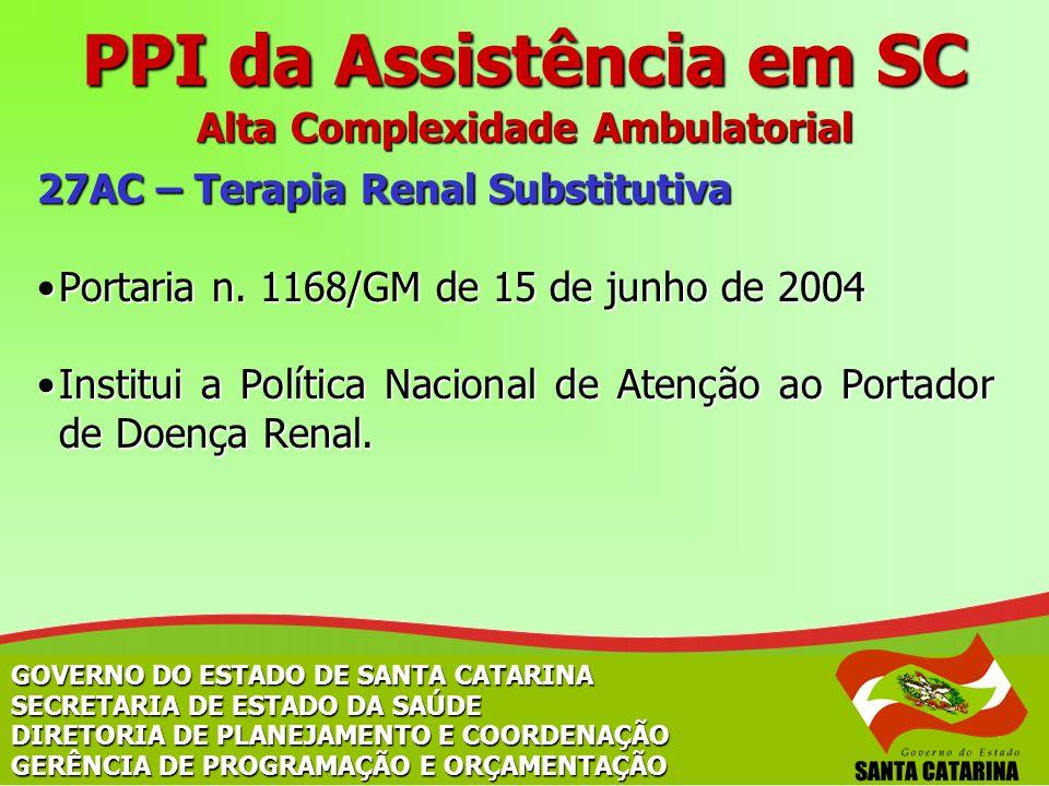 27AC – Terapia Renal Substitutiva Portaria n. 1168/GM de 15 de junho de 2004Portaria n. 1168/GM de 15 de junho de 2004 Institui a Política Nacional de