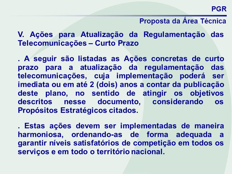 PGR Proposta da Área Técnica V. Ações para Atualização da Regulamentação das Telecomunicações – Curto Prazo. A seguir são listadas as Ações concretas