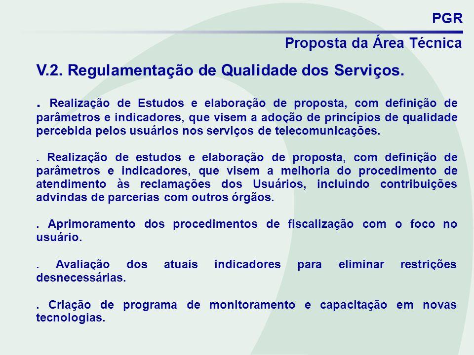 PGR Proposta da Área Técnica V.2. Regulamentação de Qualidade dos Serviços.. Realização de Estudos e elaboração de proposta, com definição de parâmetr