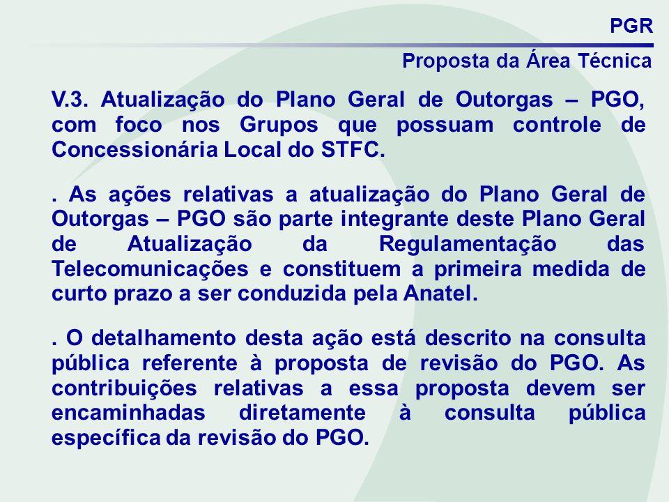 PGR Proposta da Área Técnica V.3. Atualização do Plano Geral de Outorgas – PGO, com foco nos Grupos que possuam controle de Concessionária Local do ST