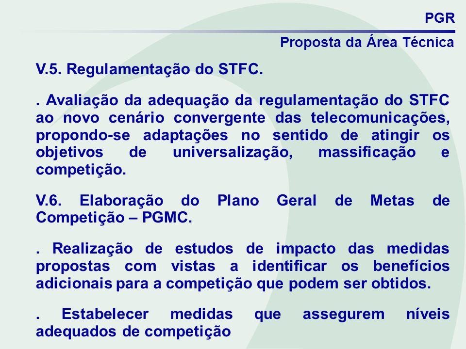 PGR Proposta da Área Técnica V.5. Regulamentação do STFC.. Avaliação da adequação da regulamentação do STFC ao novo cenário convergente das telecomuni