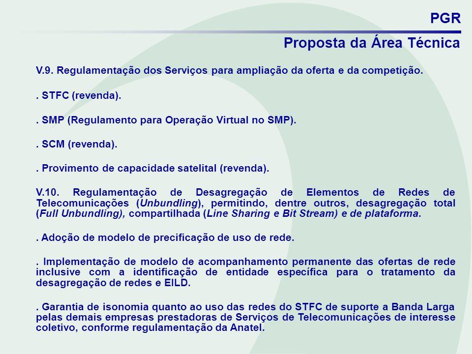 PGR Proposta da Área Técnica V.9. Regulamentação dos Serviços para ampliação da oferta e da competição.. STFC (revenda).. SMP (Regulamento para Operaç