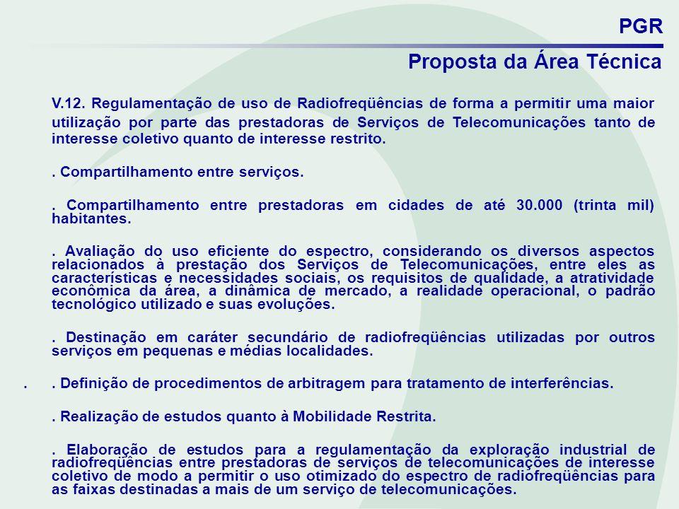 PGR Proposta da Área Técnica V.12. Regulamentação de uso de Radiofreqüências de forma a permitir uma maior utilização por parte das prestadoras de Ser