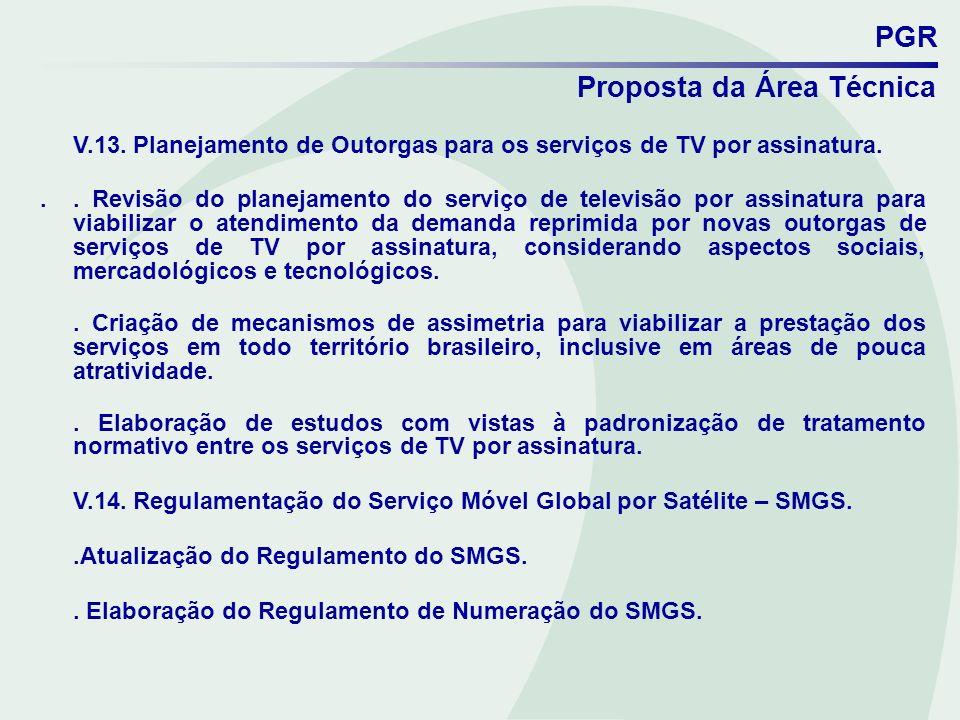 PGR Proposta da Área Técnica V.13. Planejamento de Outorgas para os serviços de TV por assinatura... Revisão do planejamento do serviço de televisão p