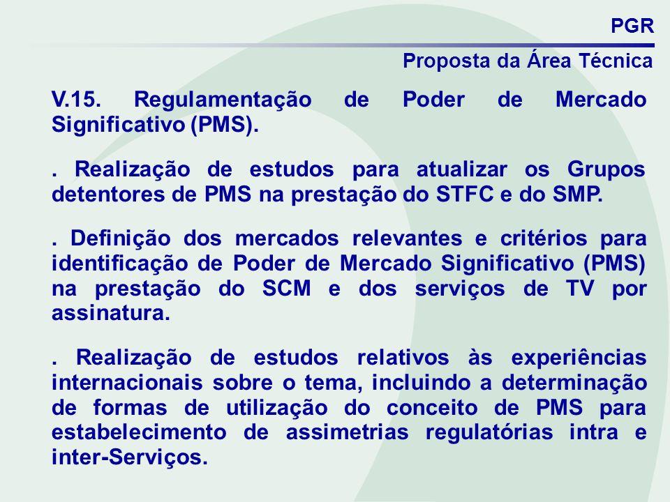 PGR Proposta da Área Técnica V.15. Regulamentação de Poder de Mercado Significativo (PMS).. Realização de estudos para atualizar os Grupos detentores