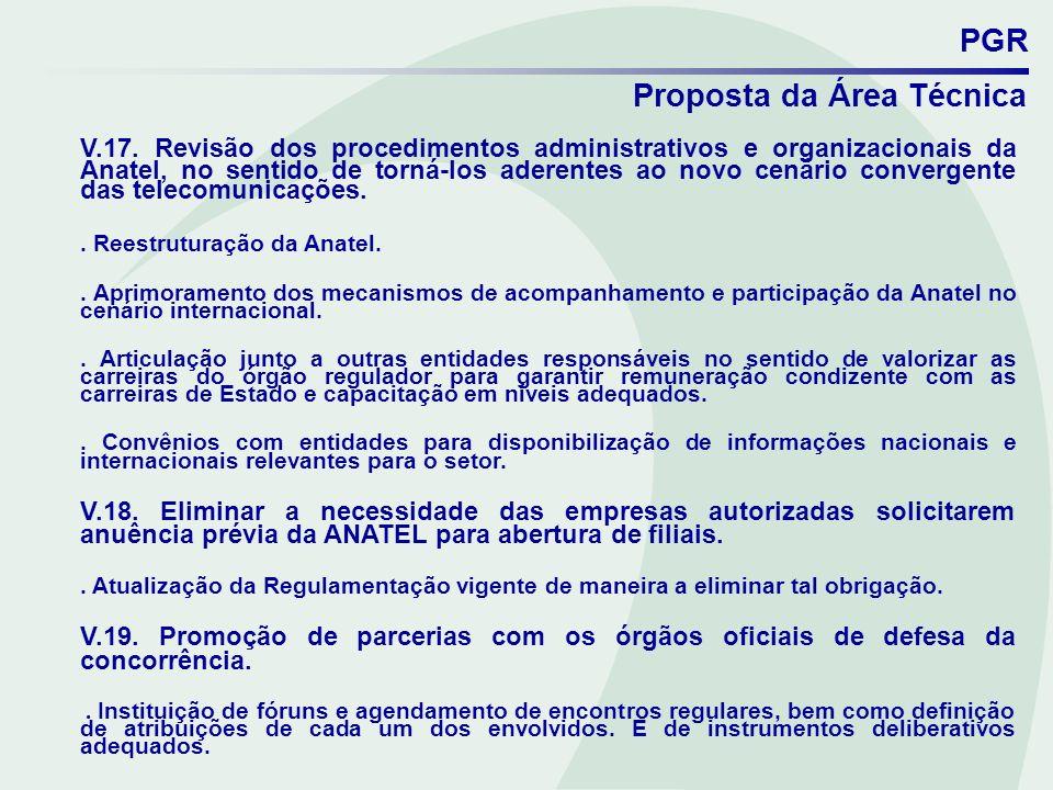 PGR Proposta da Área Técnica V.17. Revisão dos procedimentos administrativos e organizacionais da Anatel, no sentido de torná-los aderentes ao novo ce