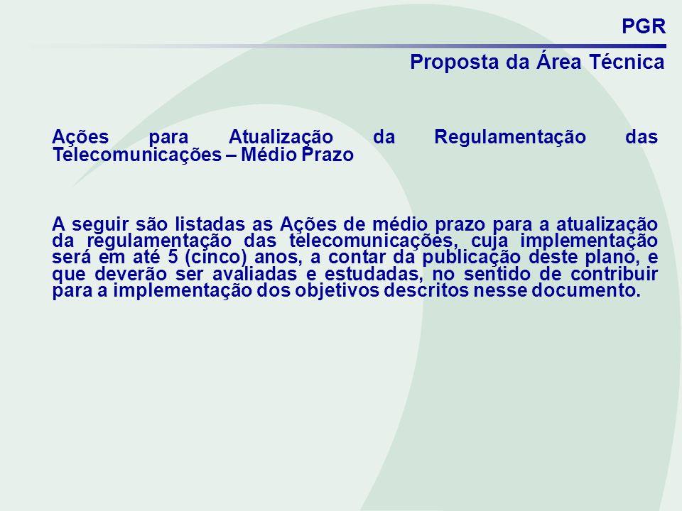 PGR Proposta da Área Técnica Ações para Atualização da Regulamentação das Telecomunicações – Médio Prazo A seguir são listadas as Ações de médio prazo