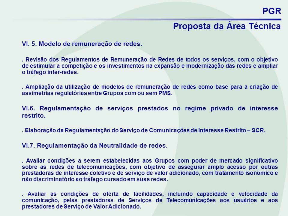 PGR Proposta da Área Técnica VI. 5. Modelo de remuneração de redes.. Revisão dos Regulamentos de Remuneração de Redes de todos os serviços, com o obje