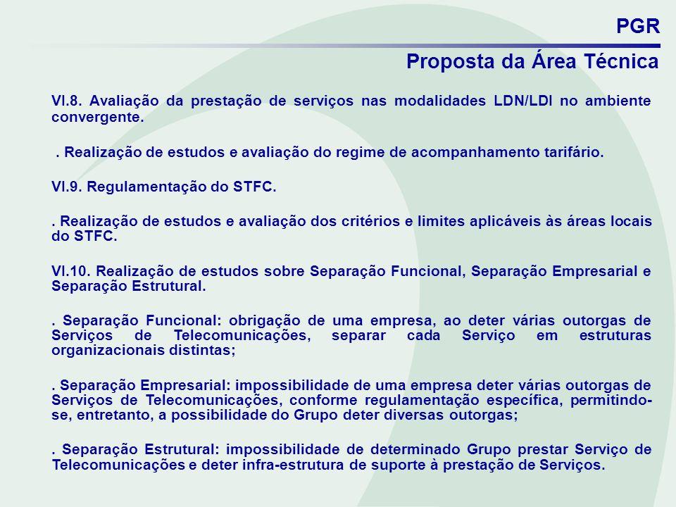 PGR Proposta da Área Técnica VI.8. Avaliação da prestação de serviços nas modalidades LDN/LDI no ambiente convergente.. Realização de estudos e avalia