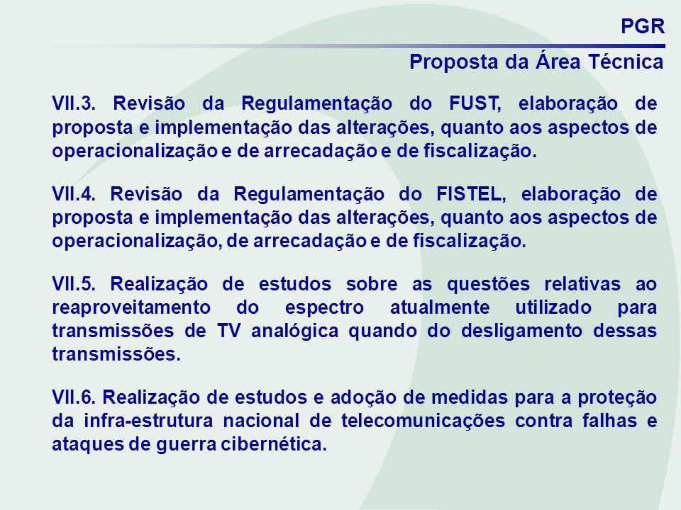 PGR Proposta da Área Técnica VII.3. Revisão da Regulamentação do FUST, elaboração de proposta e implementação das alterações, quanto aos aspectos de o
