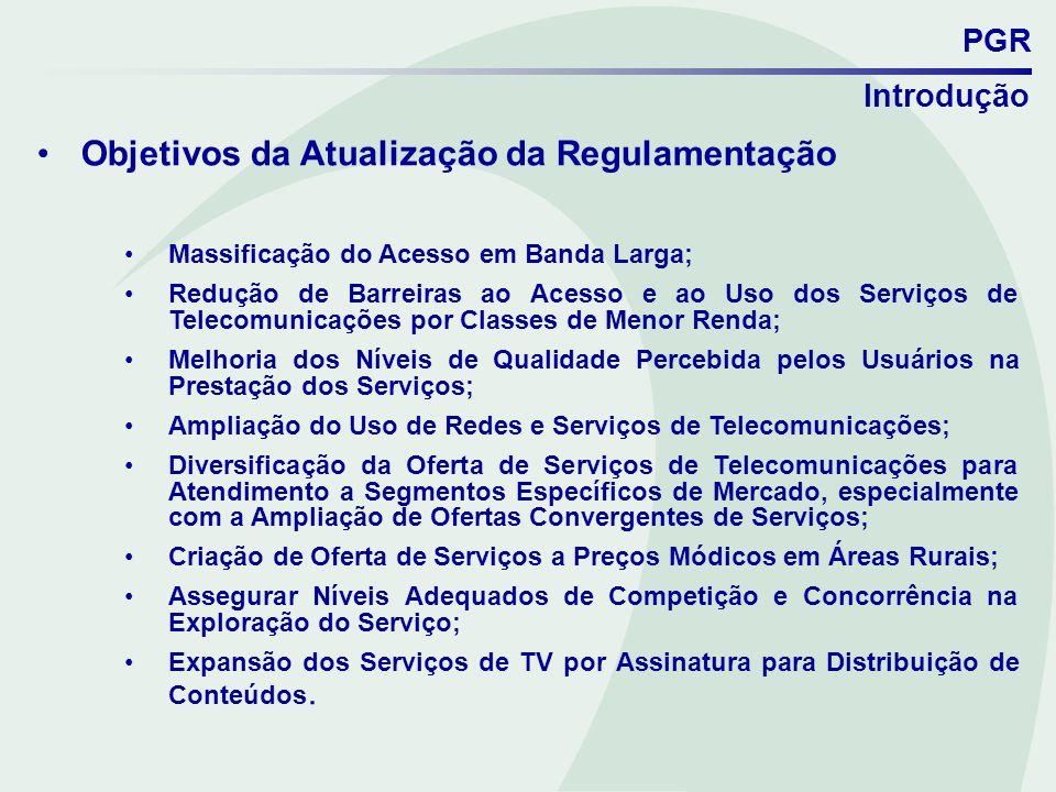 PGR Objetivos da Atualização da Regulamentação Massificação do Acesso em Banda Larga; Redução de Barreiras ao Acesso e ao Uso dos Serviços de Telecomu