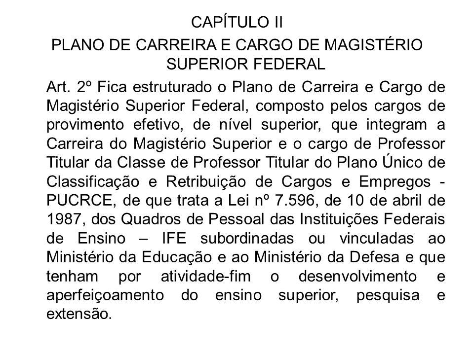 CAPÍTULO II PLANO DE CARREIRA E CARGO DE MAGISTÉRIO SUPERIOR FEDERAL Art. 2º Fica estruturado o Plano de Carreira e Cargo de Magistério Superior Feder