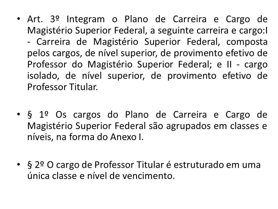 Art. 3º Integram o Plano de Carreira e Cargo de Magistério Superior Federal, a seguinte carreira e cargo:I - Carreira de Magistério Superior Federal,