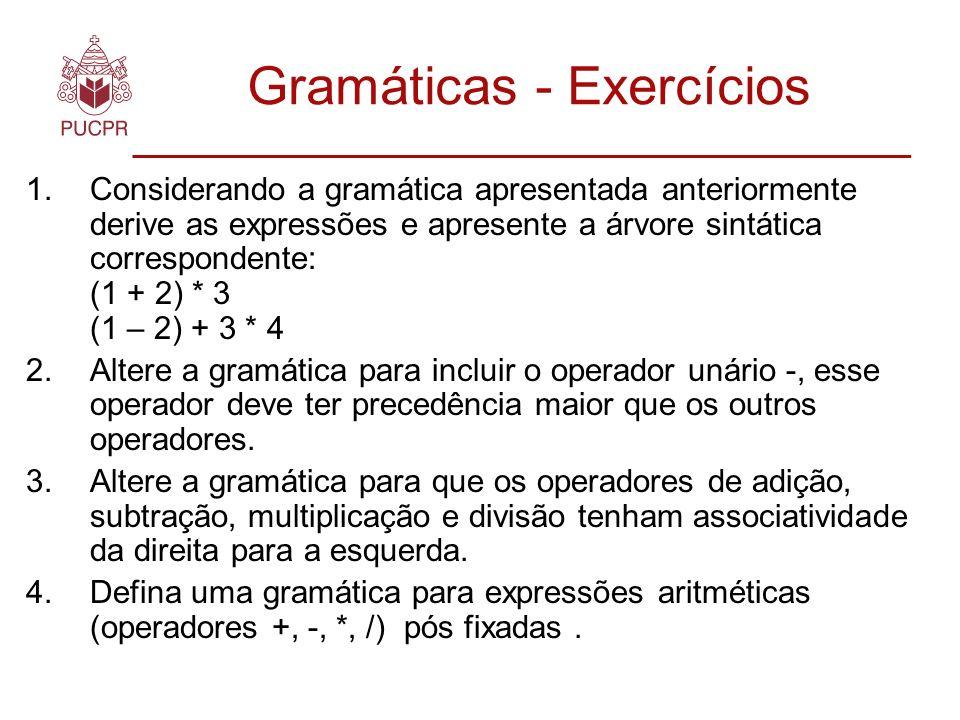 Gramáticas - Exercícios 1.Considerando a gramática apresentada anteriormente derive as expressões e apresente a árvore sintática correspondente: (1 + 2) * 3 (1 – 2) + 3 * 4 2.Altere a gramática para incluir o operador unário -, esse operador deve ter precedência maior que os outros operadores.