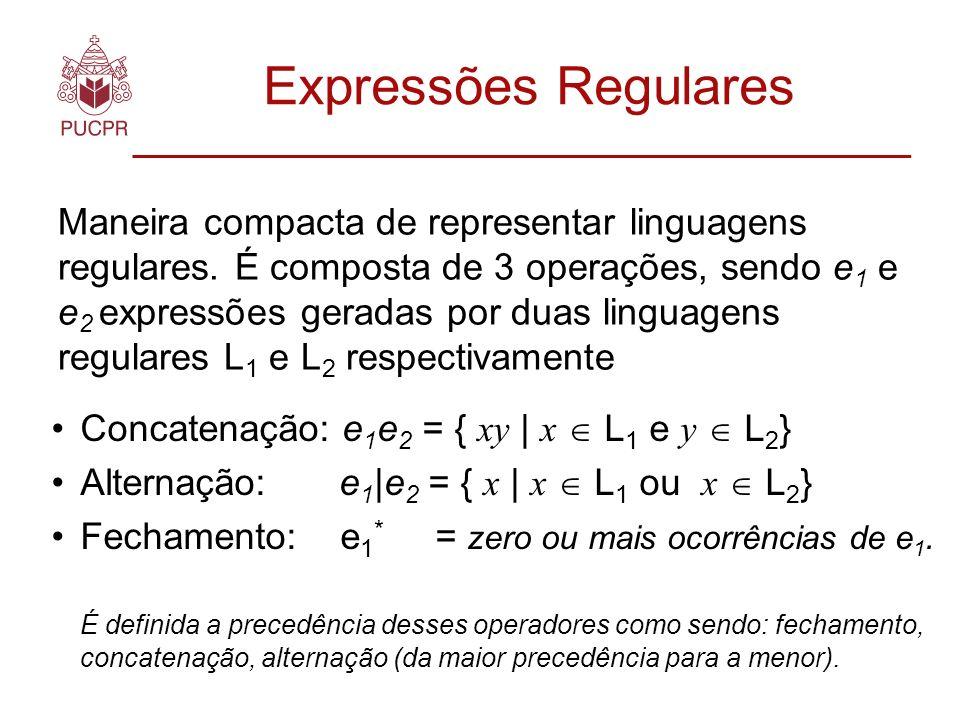 Expressões Regulares Maneira compacta de representar linguagens regulares.