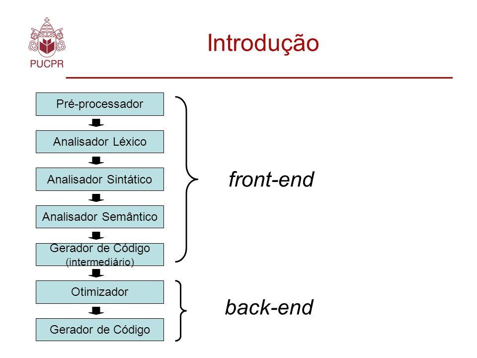 Introdução Pré-processador Analisador Léxico Analisador Sintático Analisador Semântico Gerador de Código (intermediário) Otimizador Gerador de Código front-end back-end